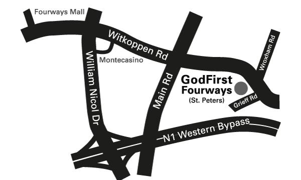 Map to GodFirst Church Fourways St. Peters Boys. 105 Witkoppen Rd